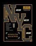 New York City T-tröjadiagram, vektorbilder Arkivbilder