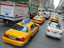 The New York City Taxi. With their distinctive yellow paint are widely recognized icon of the city Royalty Free Stock Image