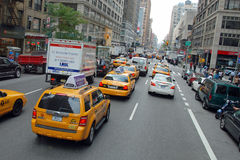 The New York City Taxi. With their distinctive yellow paint are widely recognized icon of the city Stock Image