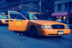 New York City Taxi. Cab, passenger making payment Royalty Free Stock Image