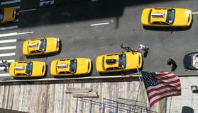 New York City taxi. Aerial view of several New York City taxis / cabs Royalty Free Stock Photography