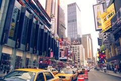 New York city taxi rank near the Broadway Theatre. New York City , USA 30 April 2008: New York city taxi rank near the Broadway Theatre royalty free stock photography