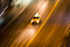 New York City taxi on street at night blurred background Royalty Free Stock Photography