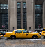 New York City Taxi and a Streetcar Royalty Free Stock Photography