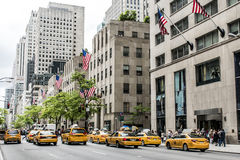 New York City Taxi Streets USA Big Apple Skyline american flag Royalty Free Stock Photo