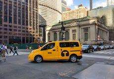 New York City Taxi Van Near Grand Central Terminal, USA stock images