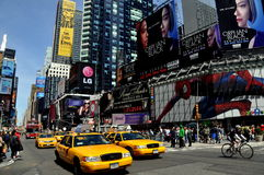 New York City: Taxis in Times Square Royalty Free Stock Image