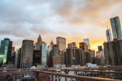 New York City. Terrific sunset view from Brooklyn Bridge with Sk Royalty Free Stock Photography