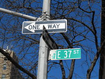 New York City 37th Street. Street sign on New York City 37th Street Royalty Free Stock Image