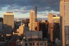 New York City tidig afton Arkivbilder