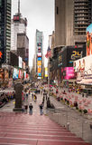 New York City Time Square. New York, NY, USA- Jan 28, 2017.  Time Square with crowds of tourists and LED signs lighting up the place Royalty Free Stock Photography