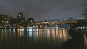 New York City timelapse - night skyline Manhattan skyscrapers. Wide angle Royalty Free Stock Photo