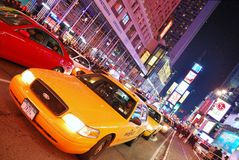 New York City Times Square. With Yellow Cab and busy traffic royalty free stock photo