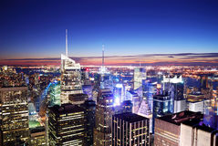 New York City Times Square. New York City Manhattan panorama skyline sunset aerial view with Times Square Stock Photography