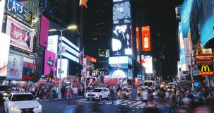 NEW YORK CITY 18 08 2017 Times Square night timelapse 4K. Amazing flashy colorful advertisement neon lights. Future. NEW YORK CITY 18 08 2017 Times Square night stock footage