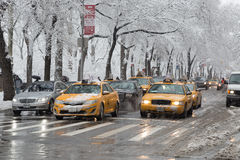 New York City Times Square in snow winter slushy Stock Photography