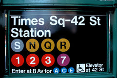New York City Times Square Subway. The Times Square subway sign at 42nd street royalty free stock images