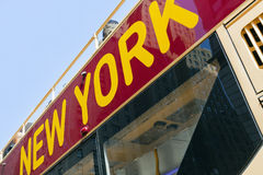 New York City Tour Charter Bus. Top side view of parked New York City sightseeing tour bus Royalty Free Stock Image