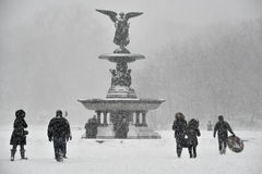 1/23/16, New York City: Tourists and locals venture into Central Park during Winter Storm Jonas royalty free stock photo