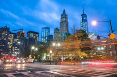 New York City traffic - Blurred lights with Manhattan skyline Stock Photography