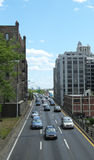 New York City traffic on Brooklyn-Queens Expressway Royalty Free Stock Image