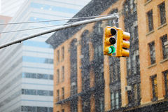 New York city traffic lights on winter day Stock Photos
