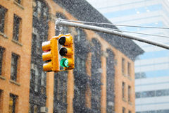 New York city traffic lights on winter day Stock Photography