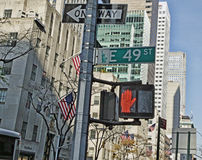 New York City. Traffic signal at the busy Stock Photos