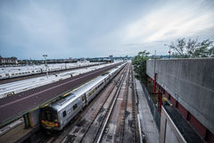 New York City Train. The West Side Train Yard for Pennsylvania Station in New York City from the Highline, New York City, USA Stock Photos
