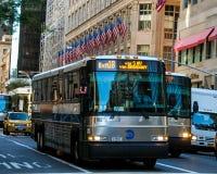 New York City transit bus. New York City Transit Bus, driving around Manhattan during rush hour royalty free stock photo