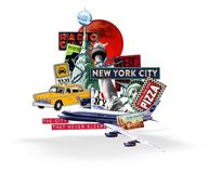 New York City Travel Collage white background. New York City Travel Collage Logo Artwork Vintage Retro Taxi Pizza Liberty Radio Music Broadway Shows I heart NYC vector illustration