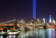 New York City Tribute in Light. Tribute in Light in Downtown New York City in rememberance of the tragedy of 9/11 Stock Photography