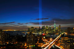New York City Tribute in Light and Skyline royalty free stock image