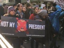 New York City; Trumfprotest arkivbild