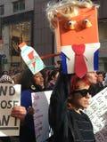New York City; Trumfprotest Arkivfoton