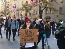 New York City; Trumfprotest Arkivfoto