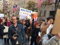 New York City; Trumfprotest Royaltyfria Bilder