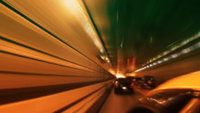 New York City Tunnel and Traffic. In taxi shot, high speed time-lapse car going through tunnel. Shot on HD 1080 stock video