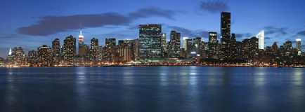 New York City at twilight Stock Images
