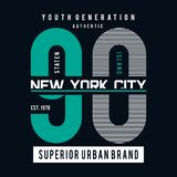 New York City typografigrafik för t-skjorta royaltyfri illustrationer