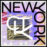 New York City Typographie colorée décorative Illustration de vecteur Le concept de construction illustration stock