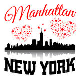 New York city Typography Graphic with hearts and stars Stock Images