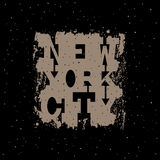 New York City Typography in a grunge style. Royalty Free Stock Photography