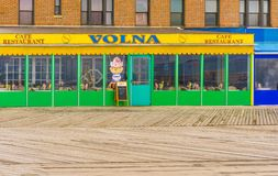 New York City, Usa - May 02, 2016: Coney Island boardwalk, Brighton beach, Brooklyn, USA. New York City, United States of America - May 02, 2016: The cafe Volna Royalty Free Stock Image