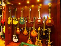 New York City, United States of America - May 02, 2016: Detail from Carmine Street Guitars shop in New York. In the store are handmade vintage style custom royalty free stock photography