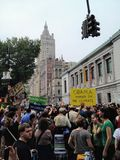 New York City, United States - September 14th, 2014: Climate changes protests occurring in Manhattan along Central Park with stock photo