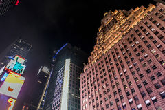 New York City - United States - 25.05.2014 - Times Square night illuminated buildings facade Stock Photography