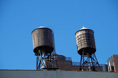 New York City urban water towers and rooftops Stock Photo