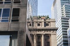 New York City Urbanism contrast modern vs classic buildings Royalty Free Stock Photos