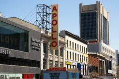 Apollo theatre in Harlem, New York City. NEW YORK CITY, USA – APRIL 2018: Apollo theatre in Harlem in the center of New York City royalty free stock photos